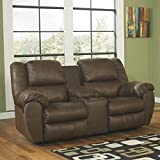 Benchcraft Quarterback 3270194 79 Double Reclining Loveseat Including Console with Split Back Cushion Console Plush Padded Arms and Stitched Detailing in