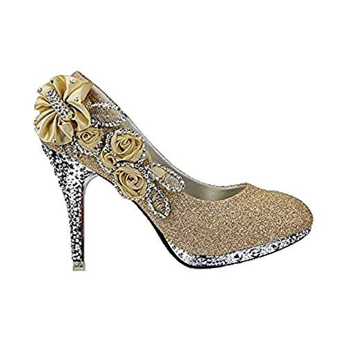 Brillante Flores Diamante y Cordones De Sin GoldHX Salón con Tacón AllhqFashion Mujeres 8x6aqwnEHv