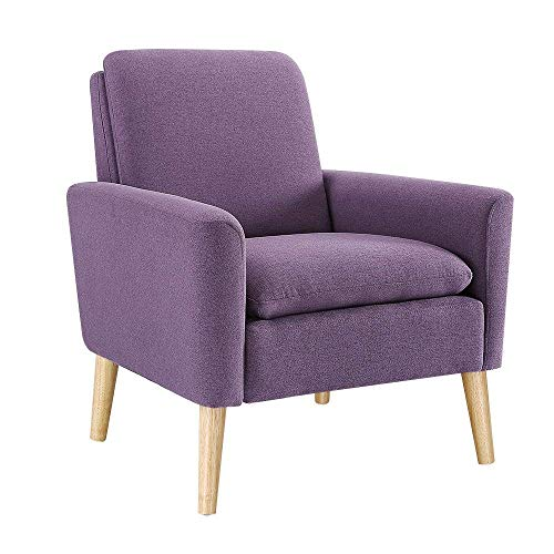 Modern Accent Chair, Single Sofa Linen Fabric Armchair (Purple), Great for Living Room, Office, Studio, Apartment, or Guest Room by Bliss Brands