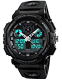 Men's LED Waterproof Sport Army Alarm Date Analog Digital Black Wrist Watch