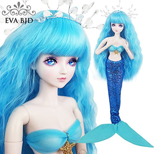 22inch Mermaid Fish,Full Set Doll 1/3 BJD Doll 56cm Ball Jointed Dolls Toy + Makeup + Full Set by EVA BJD (Image #3)