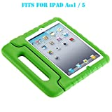 Y&M(TM) iPad Case ,Kid Proof EVA Shock Proof Convertible Handle with Kickstand Kids Friendly Protective Tablet Cover Case for iPad 5(ipad 5 green)