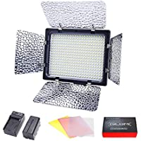 LED Video Light, GILUMI 368pcs 6000K Dimmable Photo Studio Video Panel Lamp with Battery and Charger, LED Light for Canon Nikon DSLR Cameras/Camcorder
