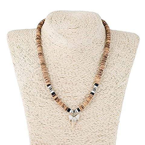 Shark Tooth Pendant on Tiger & Black Coconut Wood Beads Necklace with Puka Shells (1S Shark Tooth) - Coconut Shell Pendant
