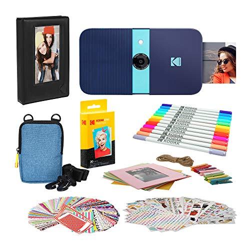 KODAK Smile Instant Print Digital Camera (Blue) Photo Frames Bundle with Soft Case
