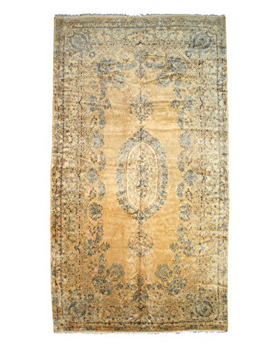 (EORC X25072 Gold Hand Knotted Wool Kerman Rug, 11'7 x 21'3)