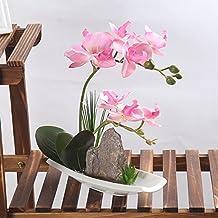 Artificial Phaleanopsis Arrangement with Vase Decorative Orchid Flower Bonsai Rockery Series (Light Pink)