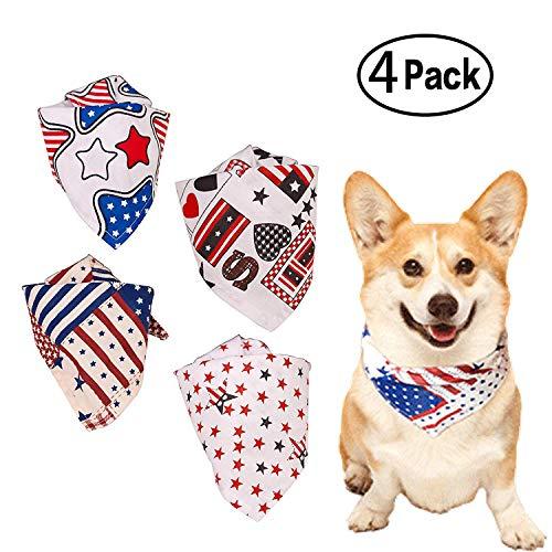 Pickle Rick USA Dog Bandana American Flag Bandana for Dogs Triangle Bibs Scarf Accessories for Pets 4 Packs ... ()