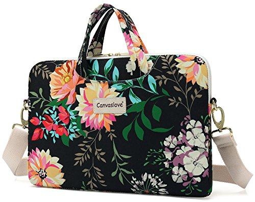 Canvaslove Black Flower Waterproof Laptop Shoulder Messenger Case Sleeve Bag For Macbook Retina 12 inch,Macbook Pro 13 inch,iPad Pro 12.9 inch and 11 inch 12.5 inch Laptop by Canvaslove