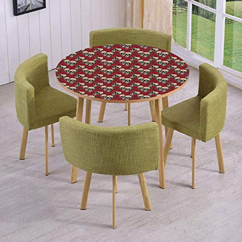 iPrint Round Table/Wall/Floor Decal Strikers/Removable/Graphic Skulls and Red Rose Blossoms Halloween Inspired Retro Gothic Pattern/for Living Room/Kitchens/Office Decoration]()