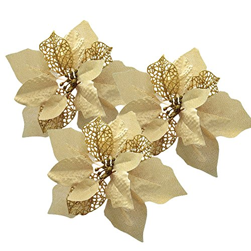Pack of 12 Glitter Artificial Wedding Christmas Flowers Glitter Poinsettia Christmas Tree Ornaments (Gold) (Poinsettia Flower Christmas)