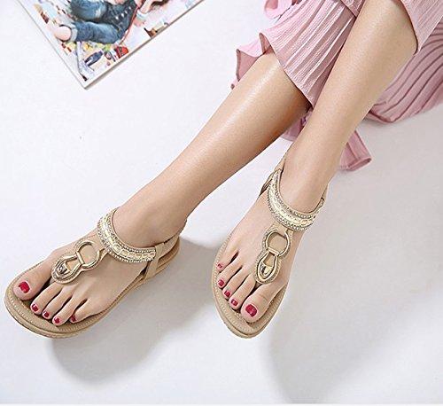 AlgaMarina Women's Boho Clip Toe Sandals Beach Elastic T-Strap Sandals Shoes with Flowered Rhinestone Apricot OczNfu