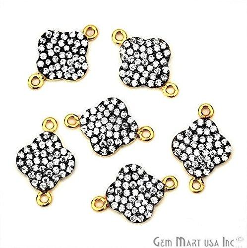 Gold Vermeil CZ Pave Diamond 'Clover' Shape Necklace Charms 16x11mm 1pc (Gold Vermeil Clover)