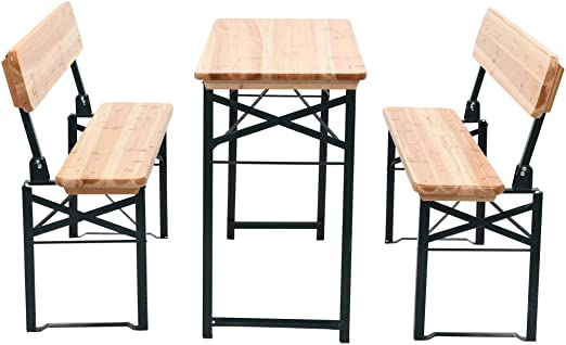 Mesa de jardín Plegable con 2 Bancos Madera de Abeto 118 cm Mobiliario Mobiliario de Exterior Mesas de Exterior: Amazon.es: Hogar