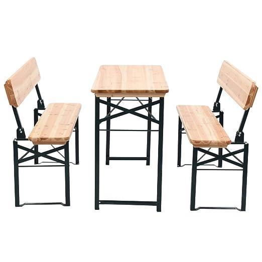 Mesa de jardín Plegable con 2 Bancos Madera de Abeto 118 cm ...