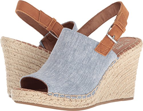 TOMS Women's Monica Blue Chambray/Leather 11 B US -