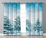 Cheap Thermal Insulated Blackout Grommet Window Curtains,Winter,Snow Covered Fir Trees on Mountainside Blizzard Arctic Woodland Tranquil Outdooors Decorative,,2 Panel Set Window Drapes,for Living Room Bedro