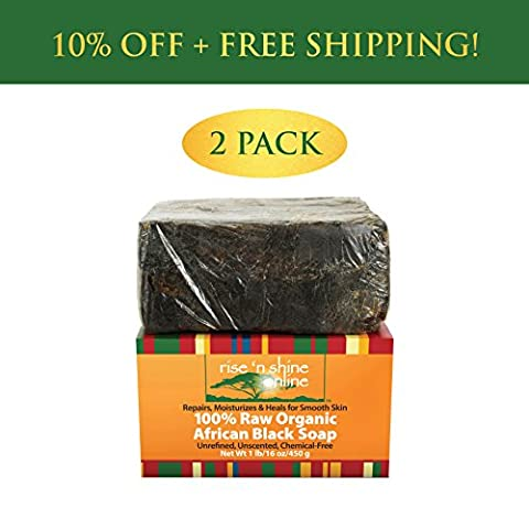 (2 Pack) Raw African Black Soap with Coconut Oil and Shea Butter - Body Wash, Shampoo and Face Wash - Helps Clear Dry Skin, Acne, Eczema, Psoriasis - Authentic Organic Homemade Soap Bar from - Therapy Bath 1 Lb Powder