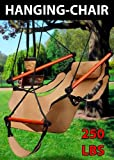 New Hammock Hanging Chair Air Sky Swing Outdoor Chair Solid Wood 250lbs (Beige)