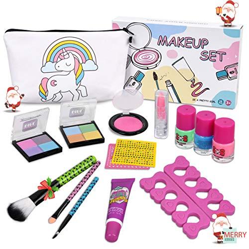 Kids Makeup Kit for Girls - Real Kids Cosmetics Make Up Set with Cute Unicorn Cosmetic Bag, Nail Polish/Eyeshadow/Lip Gloss/Blush, Washable Play Makeup for Little Girls Xmas Birthday Gift