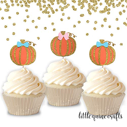 12 pcs bows pink blue pumpkins orange and gold glitter cupcake topper halloween theme birthday gender reveal baby shower fall autumn party
