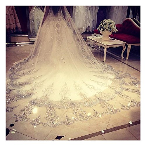 ElieHouse Women's Custom Made Sequins Chapel Wedding Bridal Veil With Free Comb E63