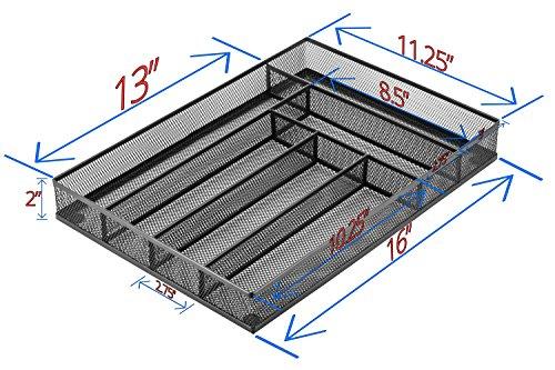 Halter Steel Mesh Large Silverware Cutlery Tray Organizer with No-Slip Foam Feet - Kitchen Organization / Silverware Storage - 16'' X 11.25'' X 2'' - 2 Pack by Halter (Image #6)