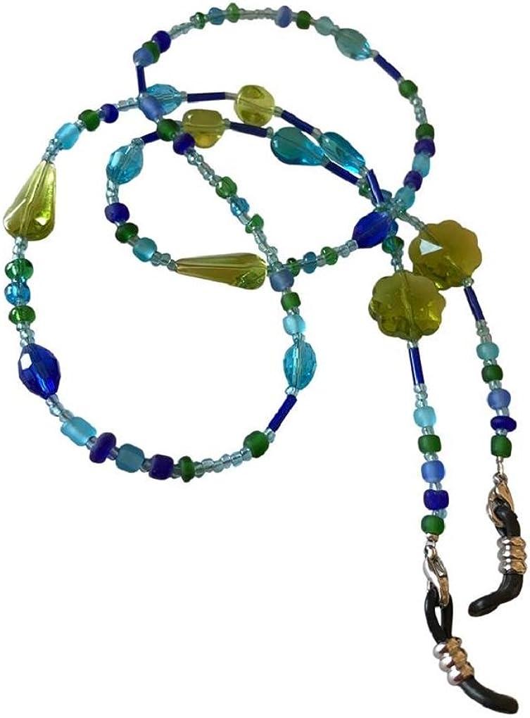 NEW Stunning Blue /& Green Glass Beaded Glasses//Sunglasses Chain Strap Holder