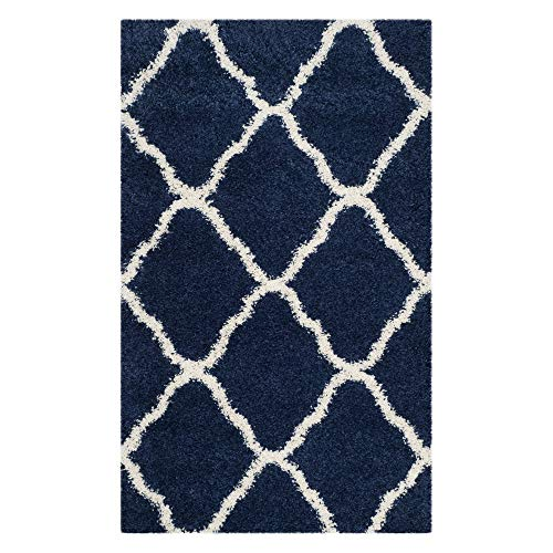 Safavieh Hudson Shag Collection SGH283C Navy and Ivory Moroccan Geometric Area Rug (4' x 6')