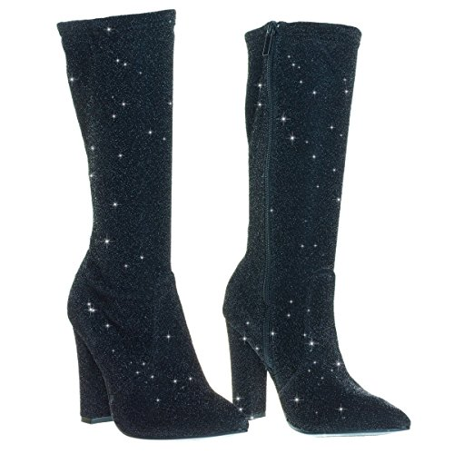 Heel Mesh Block Boots In Black Glitter Calf Glitter High zTvn7xv