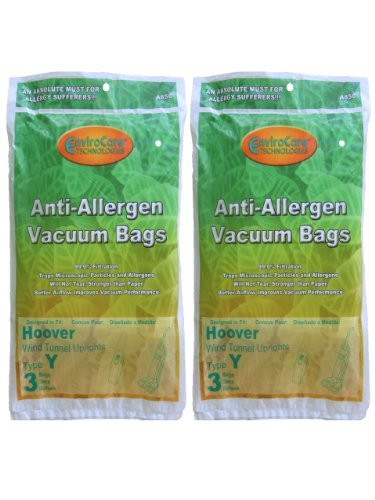 (EnviroCare Replacement Allergen Vacuum Bags for Hoover WindTunnel Type Y Uprights 6 Pack)