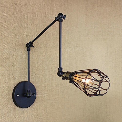 HOMEE Wall lamp- modern american village simple retro creative belt switch long arm art wall lamp bedside study cafe wall lamp --wall lighting decorations by HOMEE