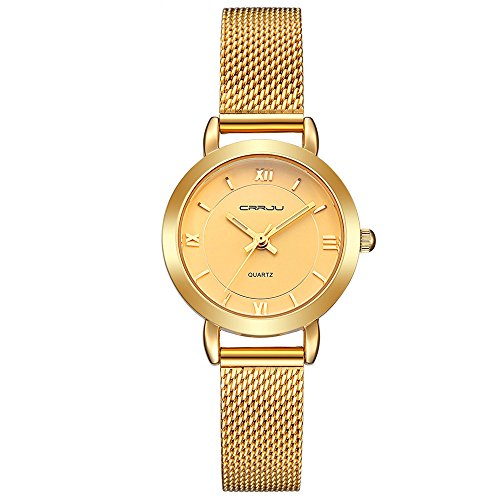 Womens-Watches-Casual-Fashion-Waterproof-Watches-Gold-Mesh-band-Quartz-Wrist-watch