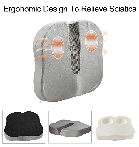 Review Dream Seat Cushion Memory Foam – Coccyx Pillow – Tailbone Pain Cushion – Car Seat Cushion for Sciatica, Lower Back Pain Relief – Chair Pad for Office Chair, Home, Travel – Washable Velour Cover – Grey