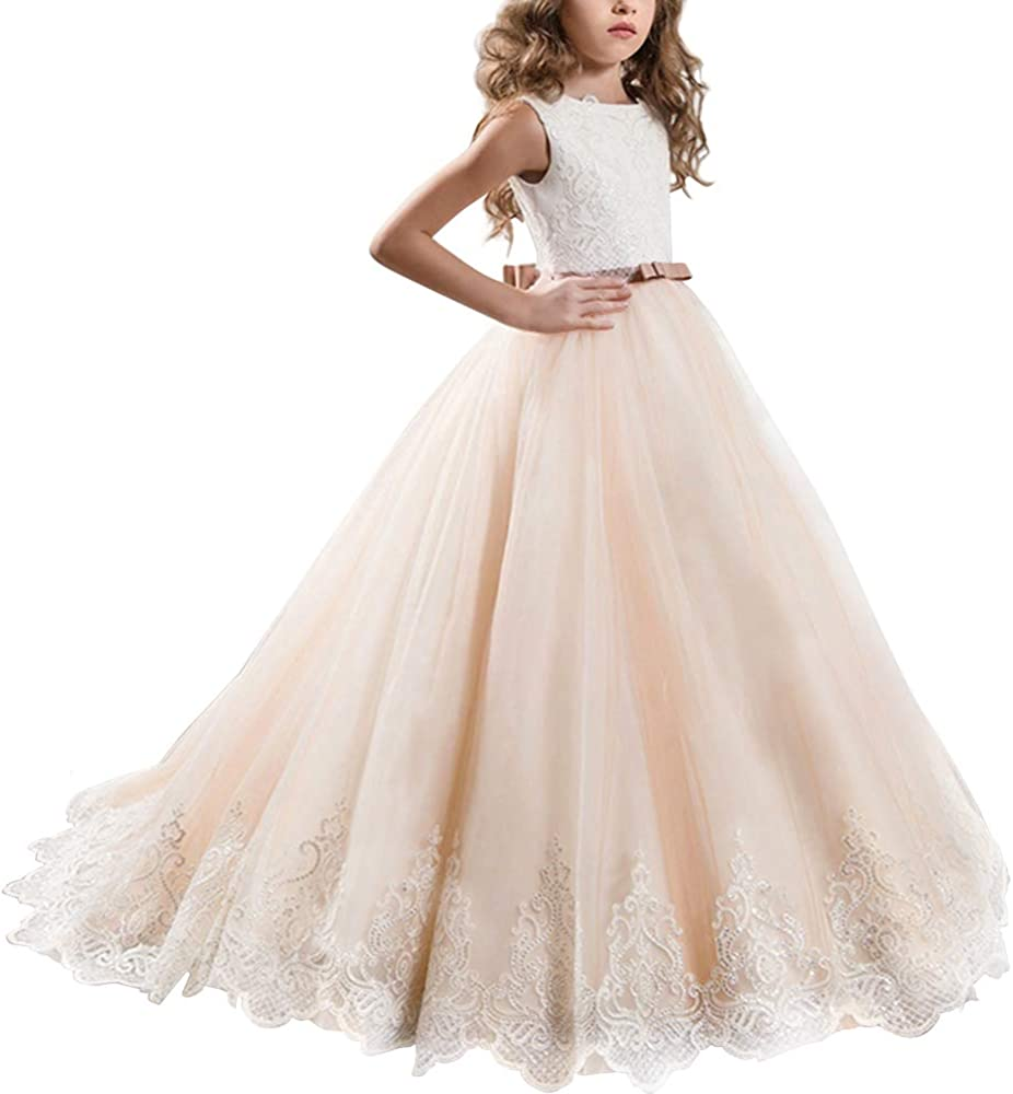Flower Girls Sequins Lace Tutu Dress Wedding Bridesmaid Birthday Party Prom Gown