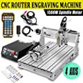 Ridgeyard 1500W CNC 6040 Z Router USB 4 AXIS Engraver Milling/Drilling Machines Carving Machine 3D Cutter Desktop DIY Artwork Woodworking (with Remote Controller)