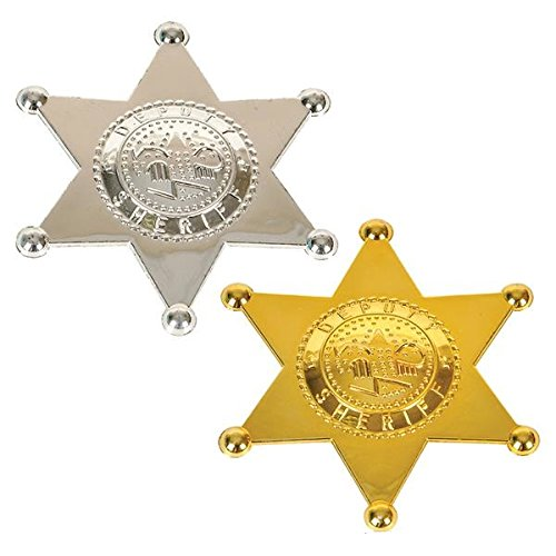[12 Pack Sheriff Badge Plastic Deputy Gold And Silver For Kids, Costume Decor, Birthday Party, Goody Bag Prize, Cops And Robbers - By] (Robber Costumes)