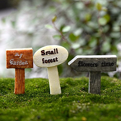 1 Set/3 piezas resina Signpost Micro paisaje jardín de hadas ...