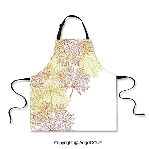 SCOXIXI Kitchen Bib Apron with Adjustable Neck Pattern with Maple Tree Fall Leaves Skeleton Dried Golden Forms Halloween Decoration Decorative for Cooking Baking Gardening.]()