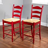 Target Marketing Systems 24-Inch Set of 2 Ladder Back Stools with Rush Seats and Turned Legs, Set of 2, Red