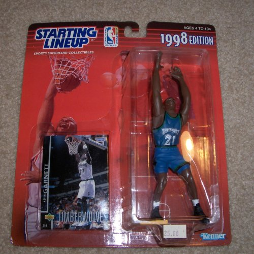 fan products of 1998 - Kenner - Starting Lineup - NBA - Kevin Garnett #21 - Minnesota Timberwolves - Vintage Action Figure - w/ Upper Deck Trading Card - Limited Edition - Collectible