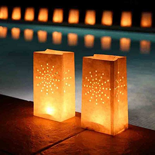 - Fascola White Luminary Bags - 10 Count - Sunburst Design - Flame Resistant Paper - Christmas Holiday Outdoor Decorations - Party and Event Decor - Luminaria Candle Bag - Ten Bags (Sunburst)