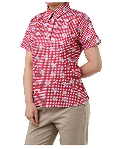 オプスト レディース ゴルフウェア ポロシャツ 半袖 チェックフラワー半袖シャツ OP220301H09 RD L
