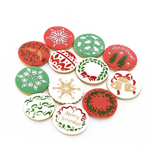 Christmas Cookie Stencils Fondant Cookie Mold, Food Grade Plastic, 12-Pieces Decorating Stencils(Snowflake)]()