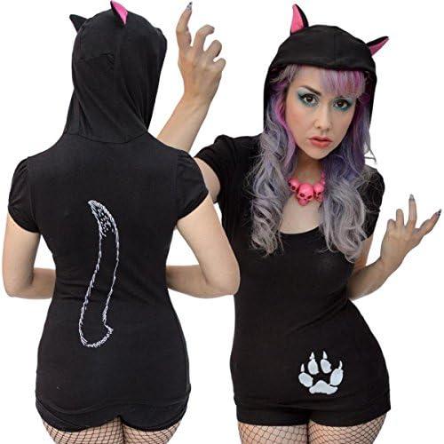Women`s Black Cat Hooded Tunic Top Kreepsville Gothic Horror Fashion