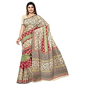 Shilp-Kala Blended Cotton Printed Beige Colored Sarees SKMRCCAN1031