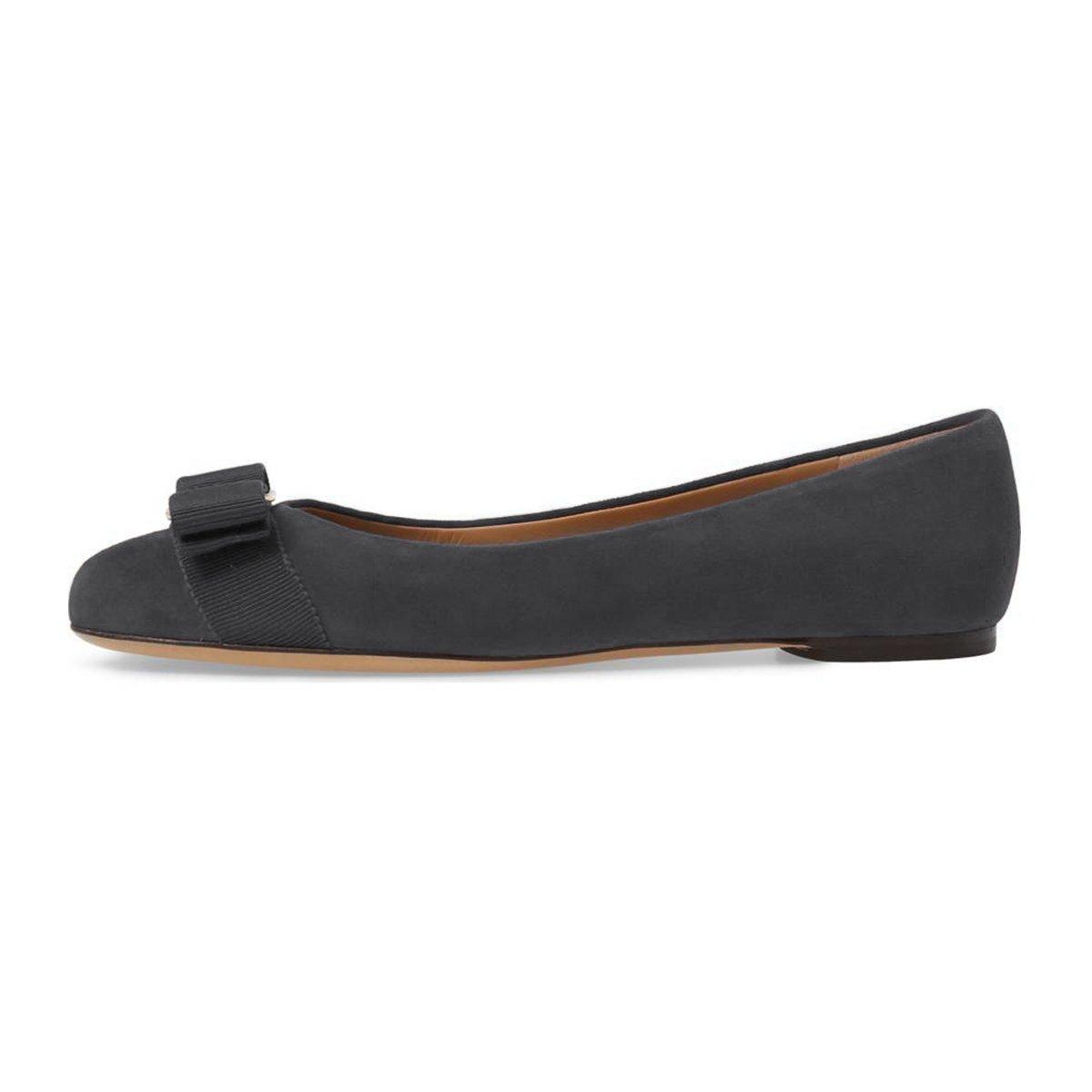 FSJ Women Cute Bowknot Round Toe Casual Ballet Flats Slip On Casual Toe Office Comfy Pumps Shoes Size 4-15 US B077P3HRK1 4 B(M) US|Dim Gray 35a56b