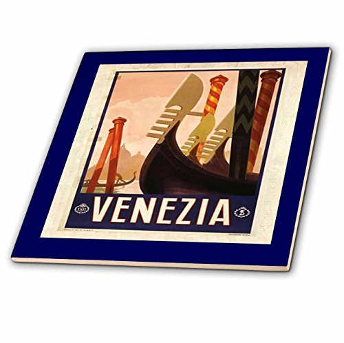 3dRose ct_47822_4 Framed Venice Italy Poster-Ceramic Tile, 12