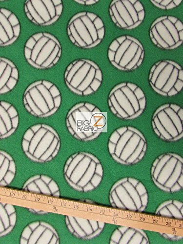 GREEN VOLLEYBALL PRINT POLAR FLEECE FABRIC 60