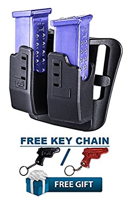 DMP CAA Gearup Polymer Tactical Double Magazine Carrier for Glock 17, 17L, 19, 22, 23 & 24 Magazines + KIRO Leather Key Chain